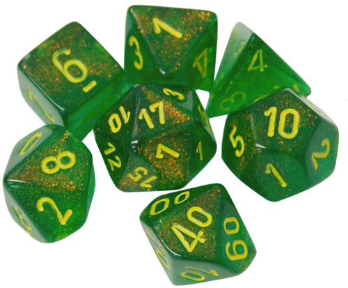 Chessex Polyhedral Dice Set: Borealis Maple Green/Yellow (7) (The Drop)
