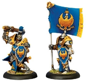 Warmachine: Cygnar - Sword Knight Officer & Standard Bearer (2)