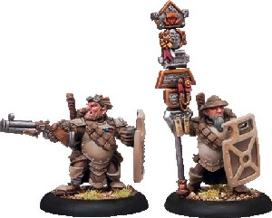 Warmachine: Mercenaries - High Shield Gun Corps Officer & Standard Bearer (2)