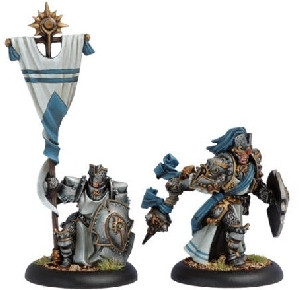 Warmachine: Cygnar - Precursor Knights Officer & Standard Bearer (2)