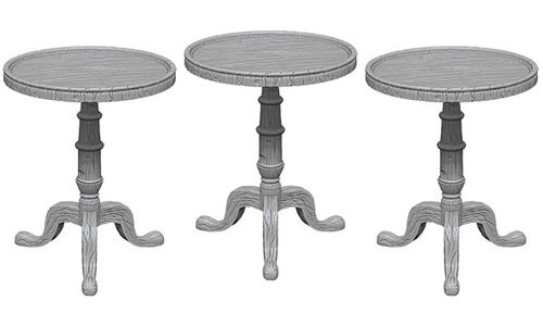 WizKids Deep Cuts Unpainted Miniatures: Small Round Tables (3)